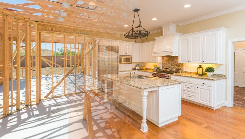 House construction gradating to a complete finished kitchen